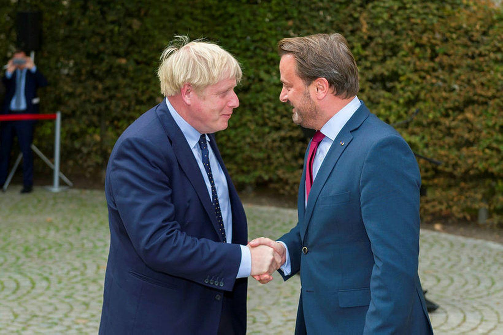 Boris Johnson, forsætisráðherra Bretlands og Xavier Bettel, forsætisráðherra Lúxemborgar. Vel …