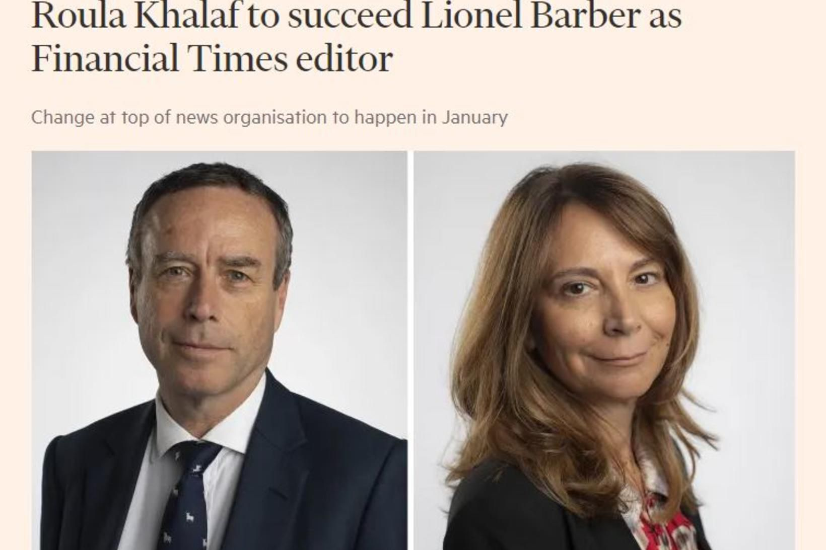 Financial Times tilkynnti um ritstjóraskiptin á vefsvæði sínu fyrr í …