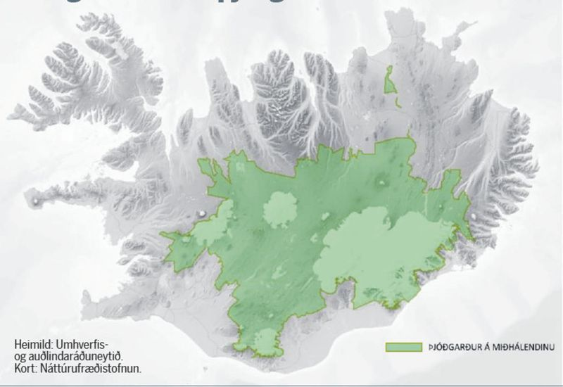 The suggested area of the central highlands park is shown in green. .