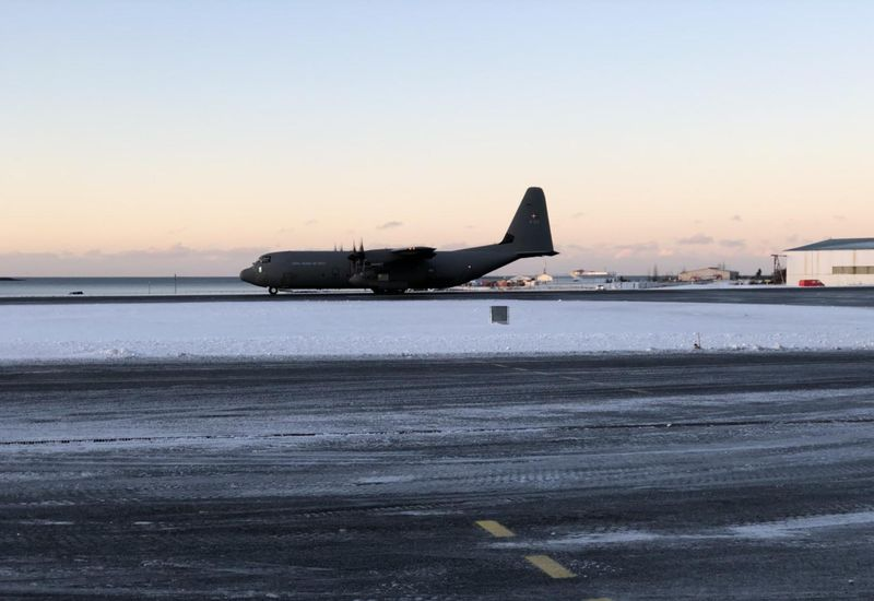The C-130 Hercules aircraft landed at Reykjavík Airport shortly before noon.