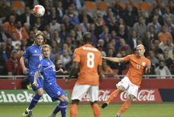 Arjen Robben í landsleik gegn Íslandi í Amsterdam árið 2015. Leikur sem er sennilega ekki …