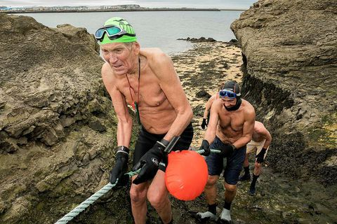 Haukur Bergssteinsson has now made 1500 swims across the Nauthólsvík cove.