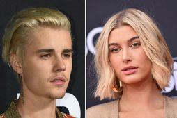 Justin og Hailey Bieber fagna hjónabandi sínu á mánudag.