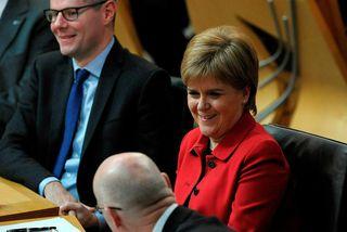 Nicola Sturgeon, fyrsti ráðherra Skotlands, í skoska þinginu í dag.