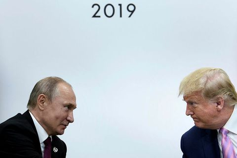 Vladimír Pútín forseti Rússlands og Donald Trump, fyrrverandi forseti Bandaríkjanna.
