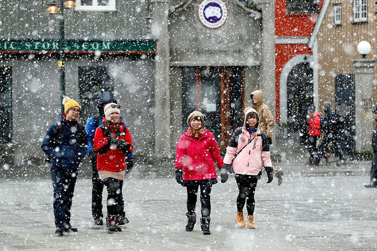 Tourists in Reykjavik in February