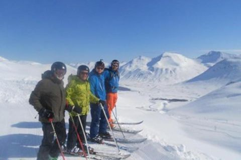 Skiing areas are open in many parts of Iceland today. This photo is taken in Siglufjörður.