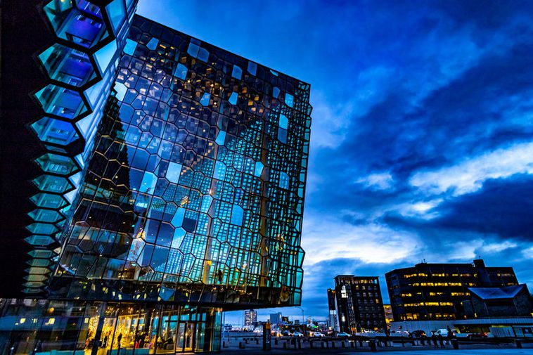 Harpa Concert and Conference Hall by Reykjavik harbour.