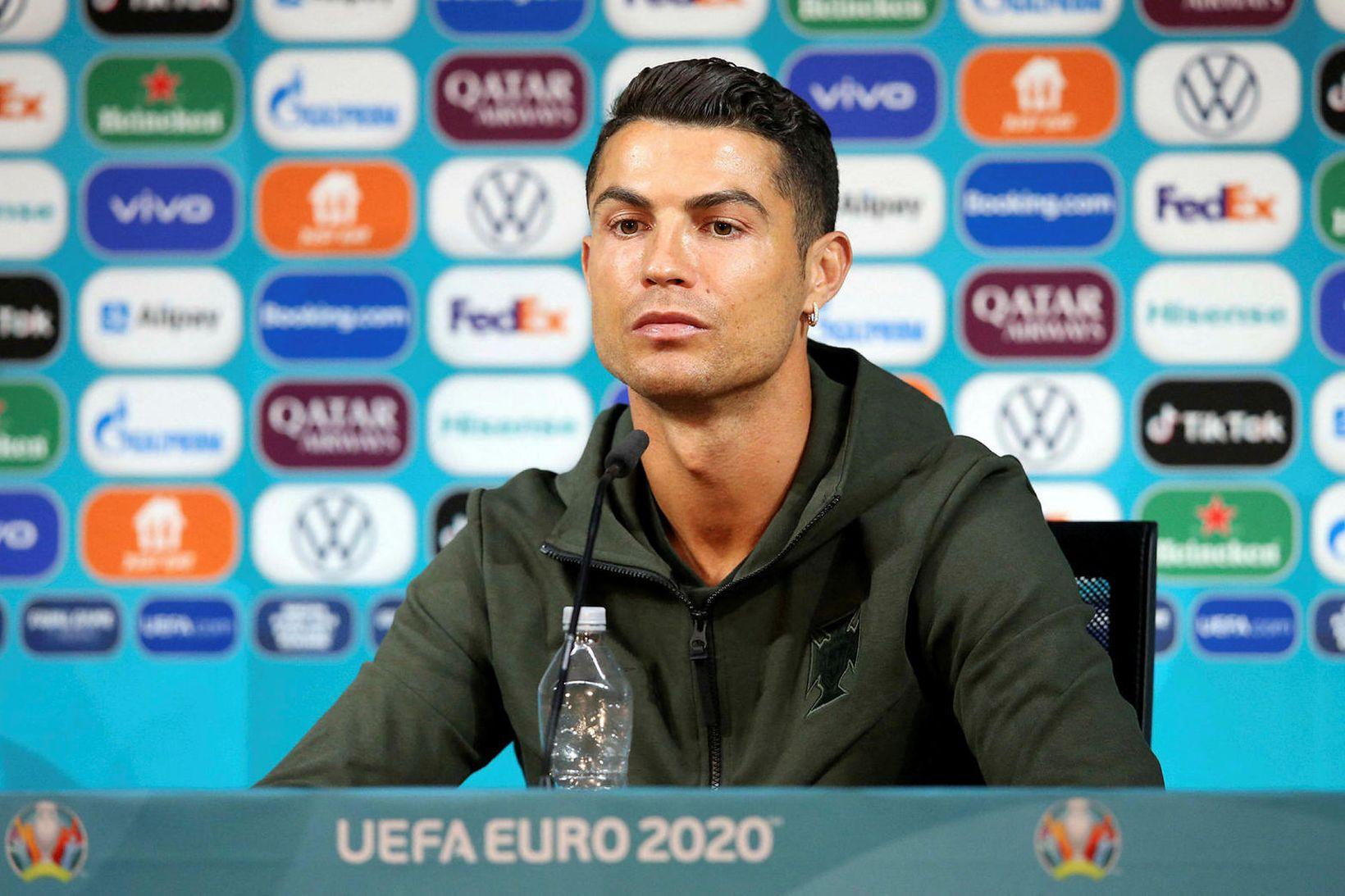 Cristiano Ronaldo á blaðamannafundi í fyrradag.