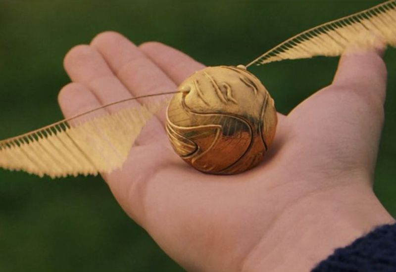 The Golden Snitch - the magical flying ball in Harry Potter. Real life quidditch uses slightly different balls.