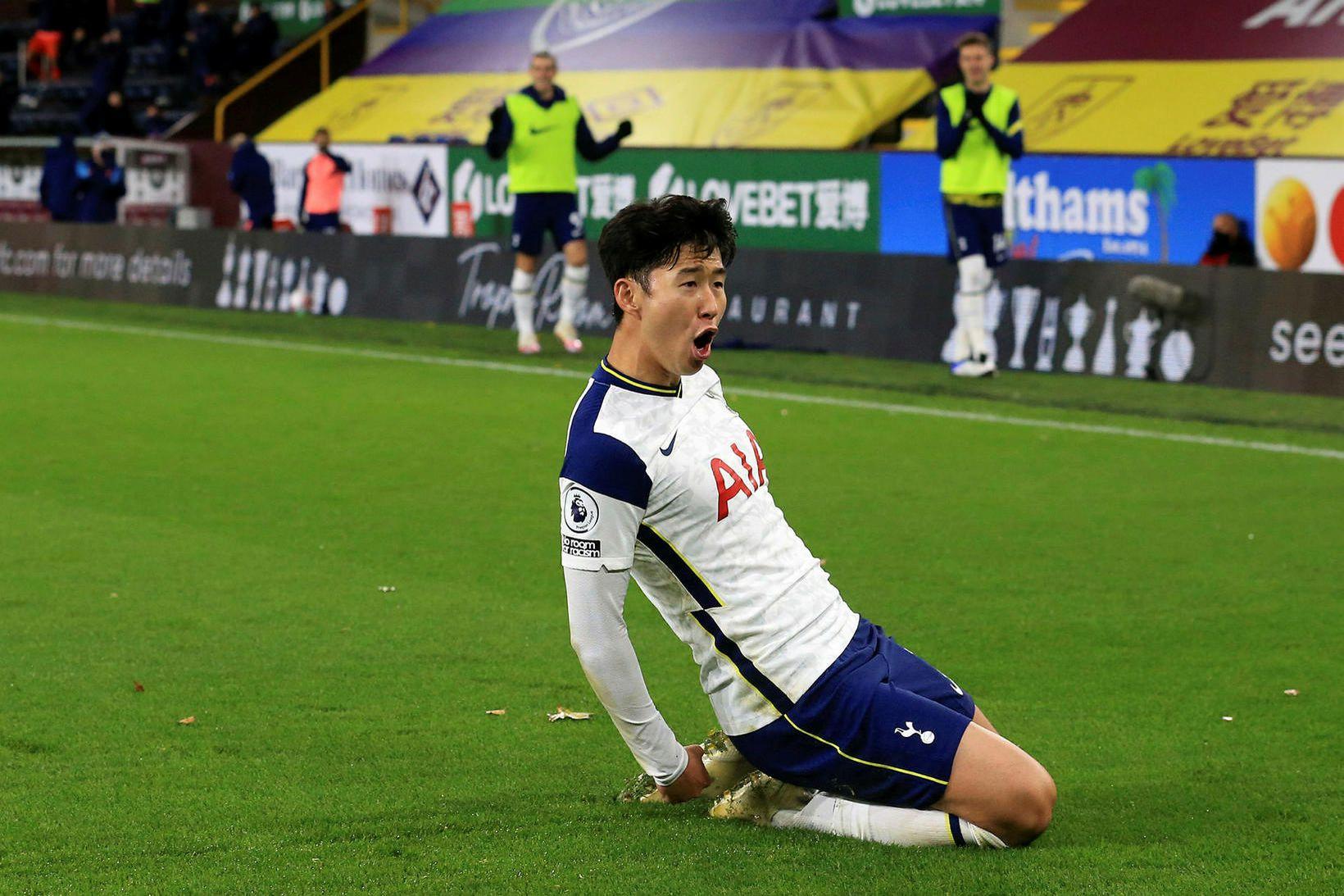 Son Heung-min fagnar marki fyrir Tottenham.