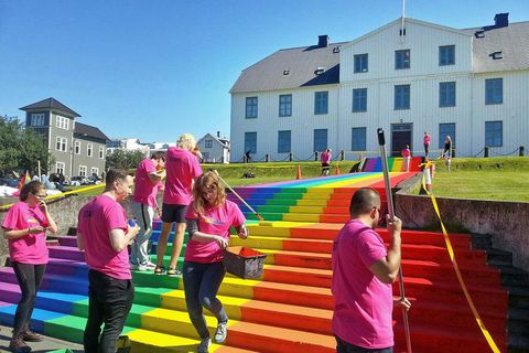 A rainbow being painted on the steps of Menntaskólinn í Reykjavík junior college in 2016. For several years, rainbows have been painted at various locations in Reykjavík around Gay Pride, but they have been washed away after the festivities.