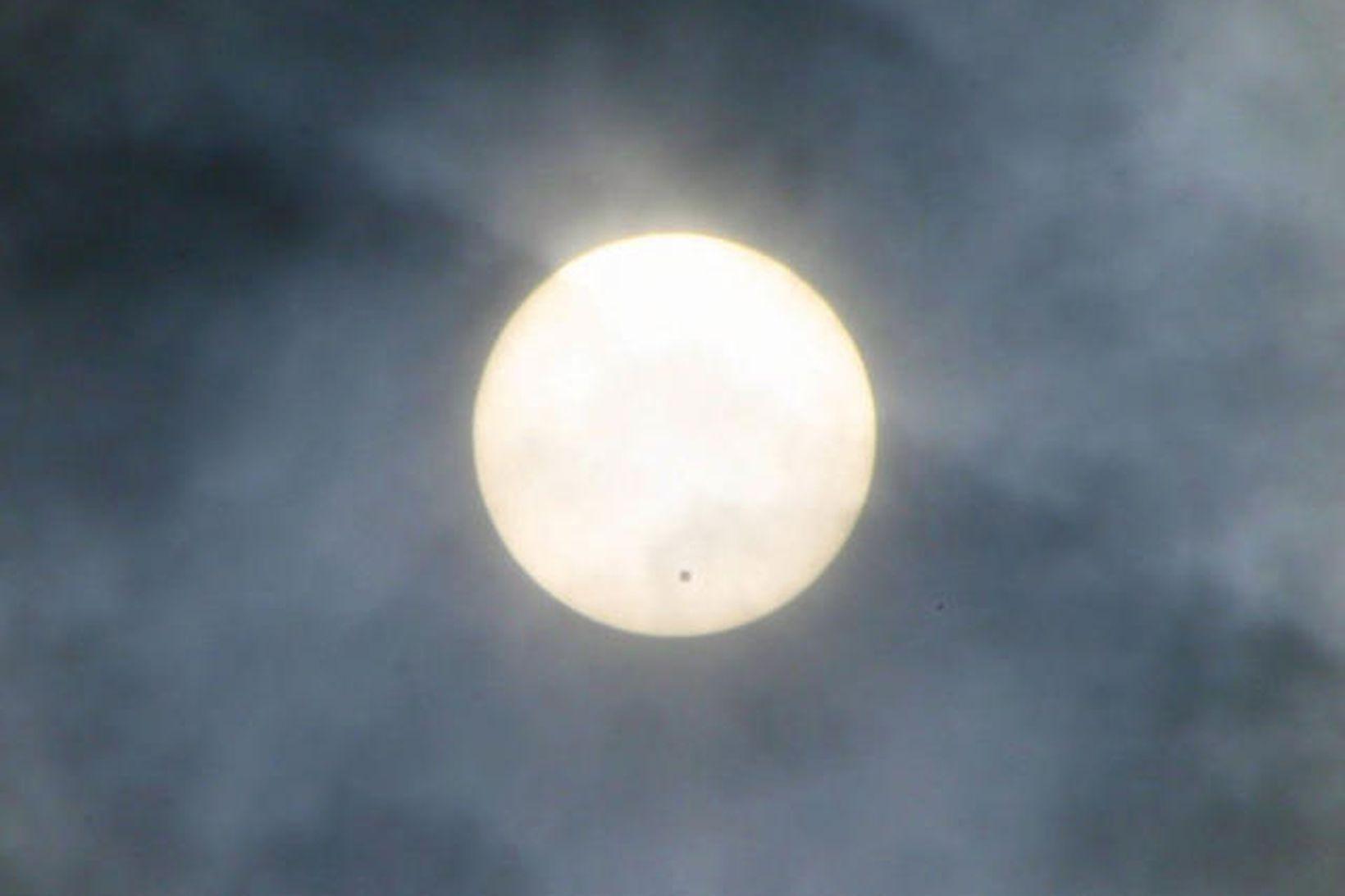 Venus eins og lítill díll á sólu.