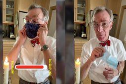 """Bill Nye """"The Science Guy"""" útskýrir og sýnir hvernig grímur geta hjálpað til við að …"""