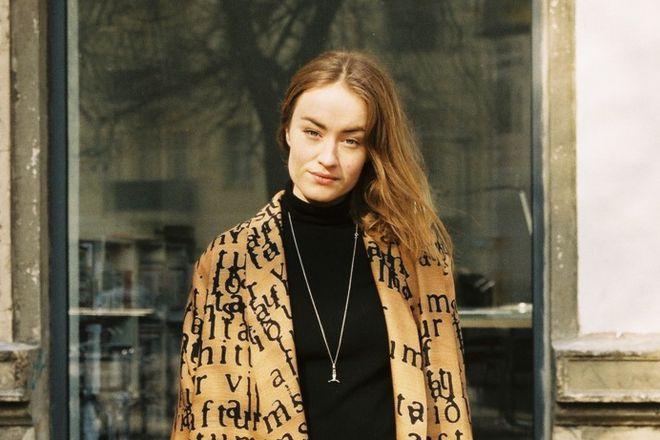 Helga Lilja Magnúsdóttir wearing a jacket from her label Helicopter .