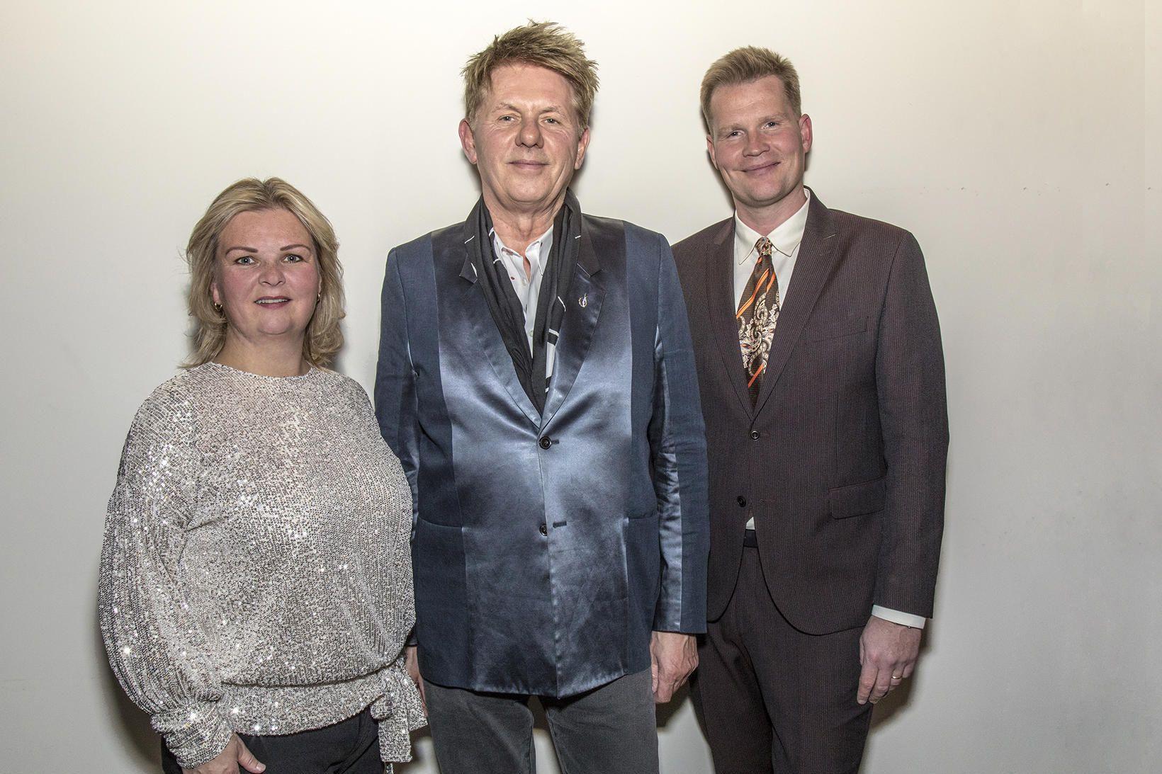 Guðrún Björk Bjarnadóttir, framkvæmdastjóri STEFs, Jakob Frímann, og Bragi Valdimar …