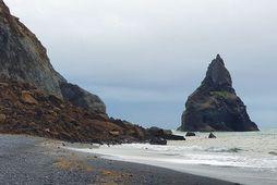Mynd sem var tekin snemma í morgun og sýnir hvar skriðan féll í Reynisfjöru.