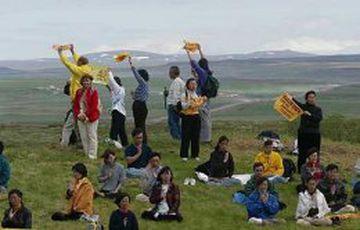 Falun Gong-liðar mótmæltu er forseti Kína kom til Íslands sumarið 2002.