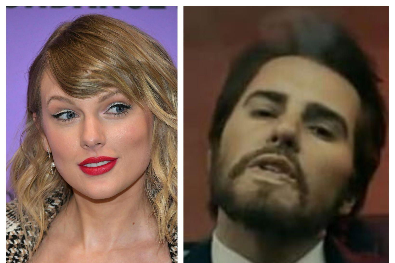 Taylor Swift sem kona og Taylor Swift sem karlmaður.