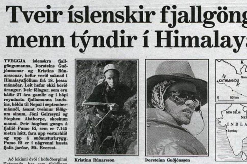 Þorsteinn Guðjónsson og Kristinn Rúnarsson voru í hópi reyndustu fjallamanna ...
