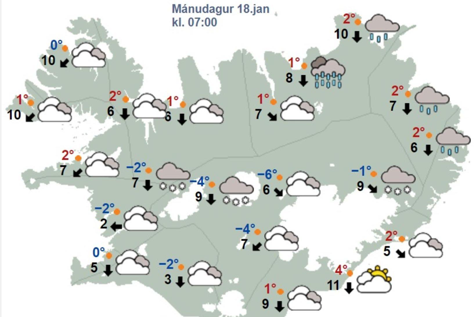 Hiti verður við frostmark.