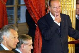Dominique de Villepin, Jean-Pierre Raffarin og Jacques Chirac. Myndin var tekin 2003.
