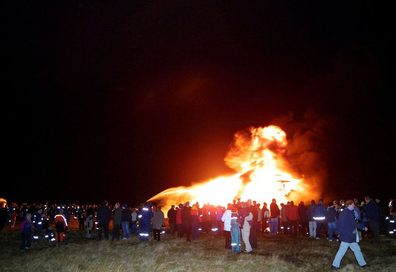 Lighting bonfires on New Year's Eve is an Icelandic tradition.