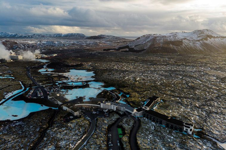 The Blue Lagoon is located just north of Þorbjörn mountain.