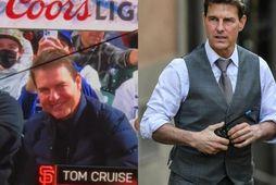 Tom Cruise á hafnaboltaleik á dögunum og Tom Cruise á tökustað Imisson Impossible í fyrra.