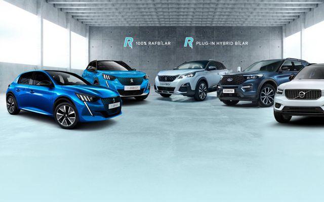 Rafbílar frá Peugeot, Ford og Volvo í sýningarsal Brimborgar.