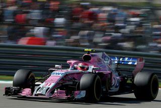 Esteban Ocon á ferð á Force India bílnum í kappakstrinum í Austin.
