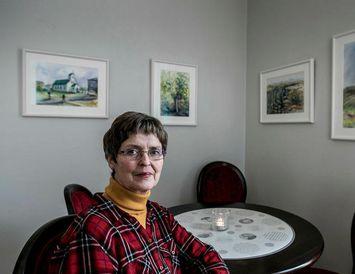 Marta Ólafsdóttir, myndlistarkona og fyrrverandi kennari, sýnir verk sín um helgina, en hún segist einkum ...