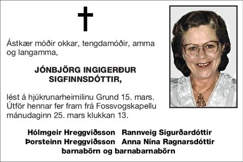 Jónbjörg Ingigerður Sigfinnsdóttir,
