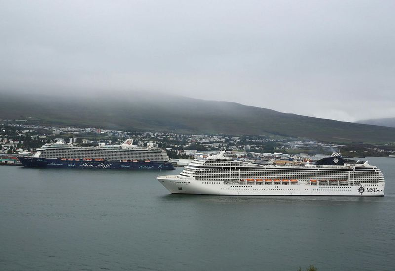 Cruise ships in Akureyri, North Iceland.