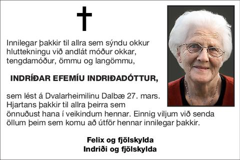 Indríðar Efemíu Indriðadóttur,