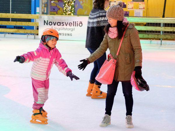 The ice skating rink is next to the Ingólfstorg Christmas village