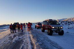Um 40 björgunarsveitarmenn komu að aðgerðum á vettvangi.