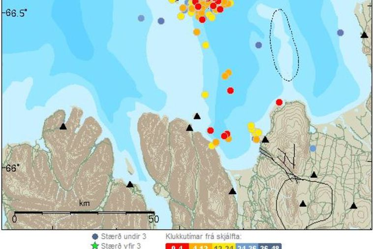 Grímsey is the northernmost point of Iceland. Here you can see the earthquakes occuring with ...