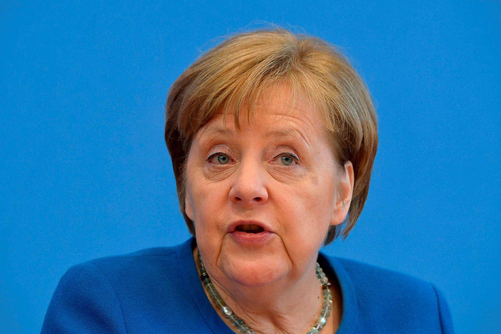 Angela Merkel, kanslari Þýskalands, á blaðamannafundi í dag.