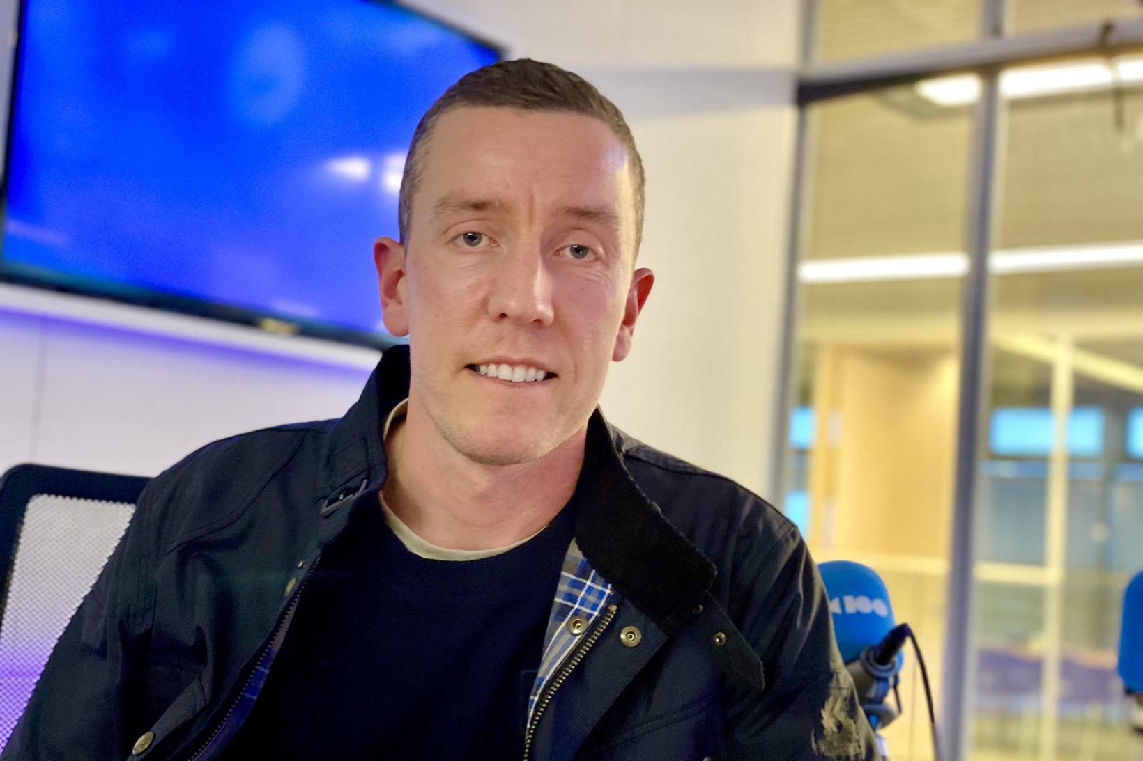 Hannes Þór Halldórsson í Hádegismóum í dag.