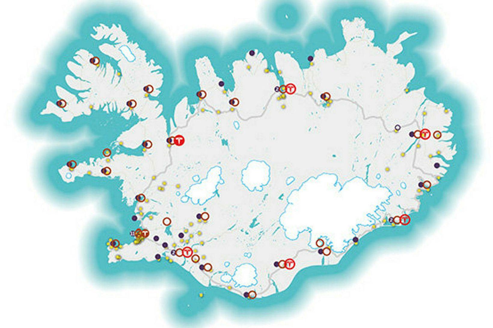 Kort af rafhleðslustöðvum landsins.