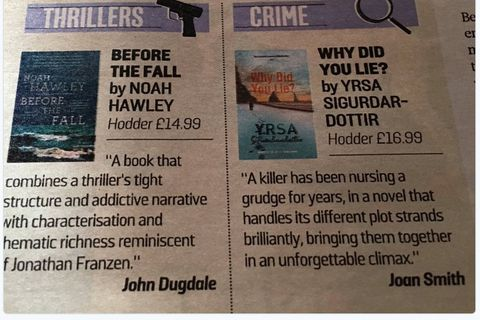 Why did you lie? voted best crime novel of the year.