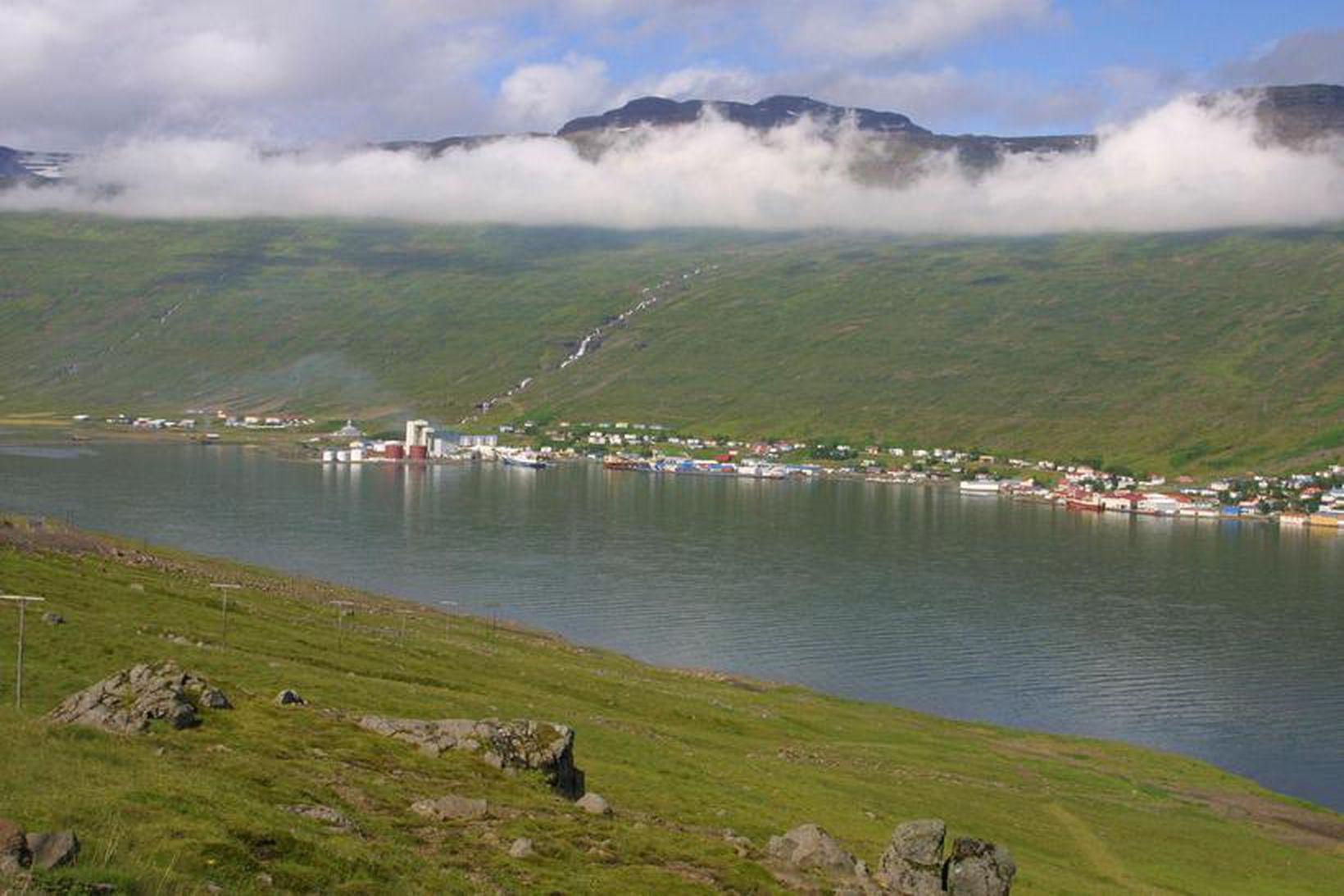 Horft yfir Eskifjörð.
