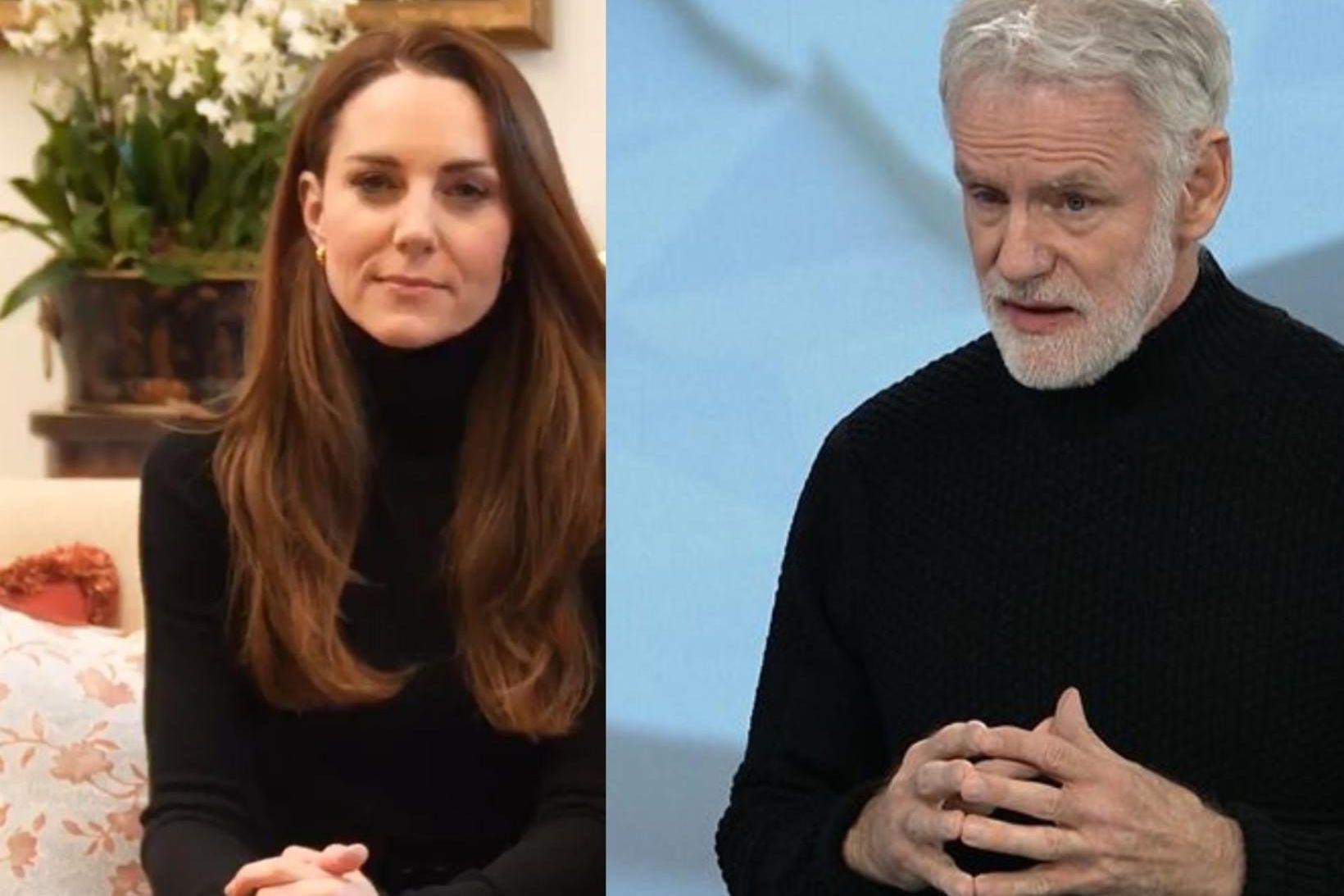 Katrín hertogaynja af Cambridge og Kári Stefánsson eins klædd með …