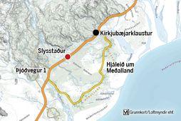 Slysið varð vestan af Kirkjubæjarklaustri rétt fyrir hádegi á miðvikudag.
