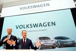 Forstjóri Volkswagen, Herbert Diess, og stjórnarformaður VW, Hans Dieter Pötsch.