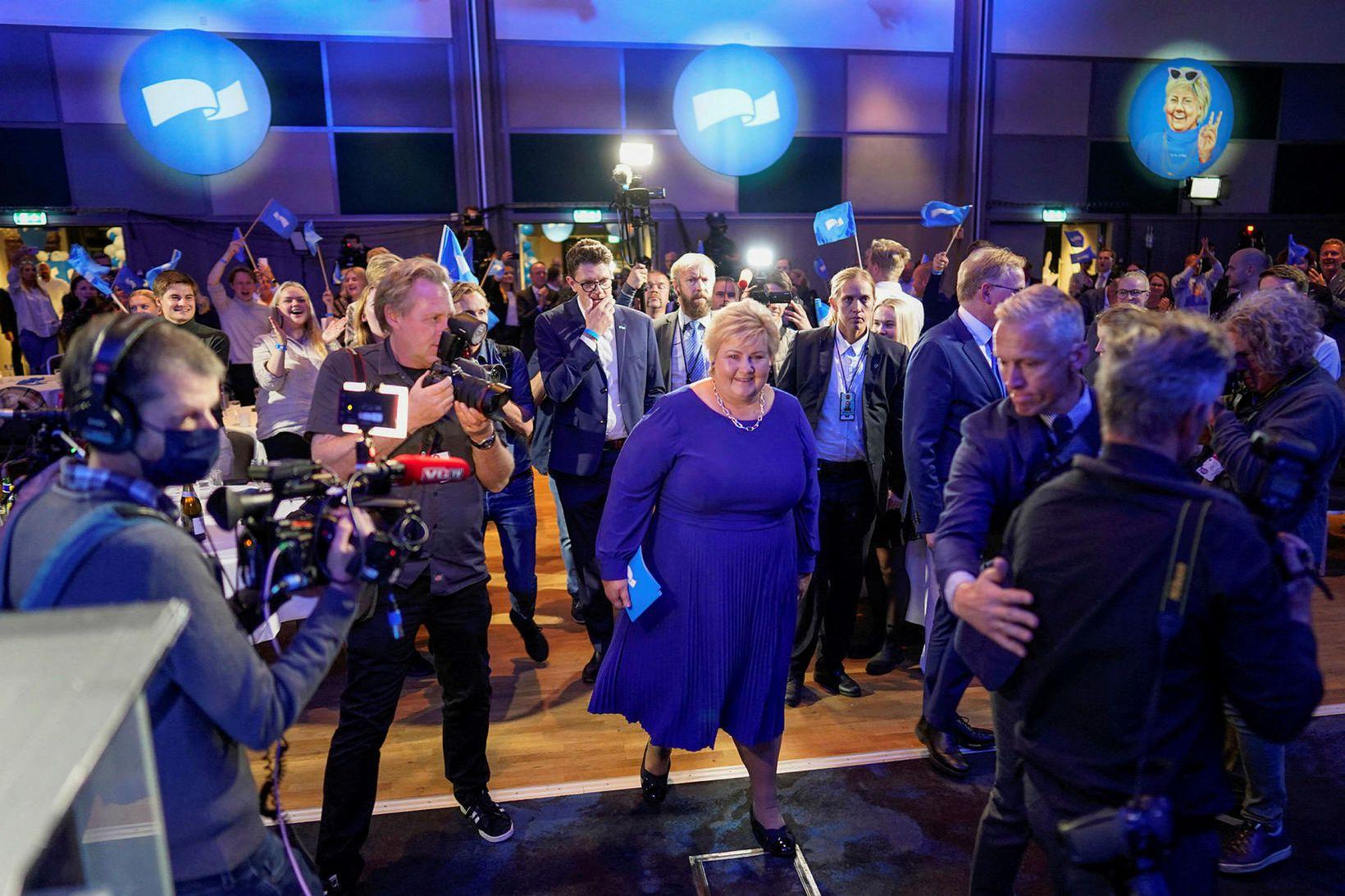 Erna Solberg forsætisráðherra Noregs á Radisson Blu-hótelinu í kvöld.