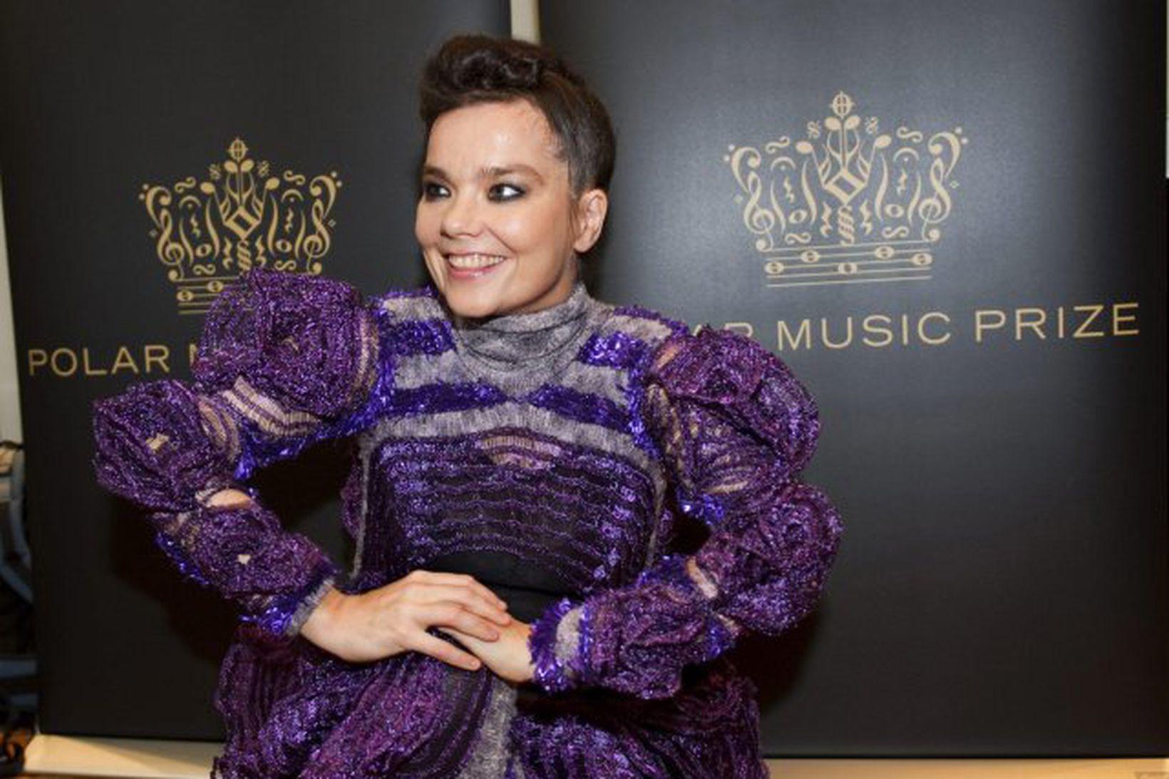 Björk Guðmundsdóttir á blaðamannafundi vegna verðlaunanna í Stokkhólmi í dag.