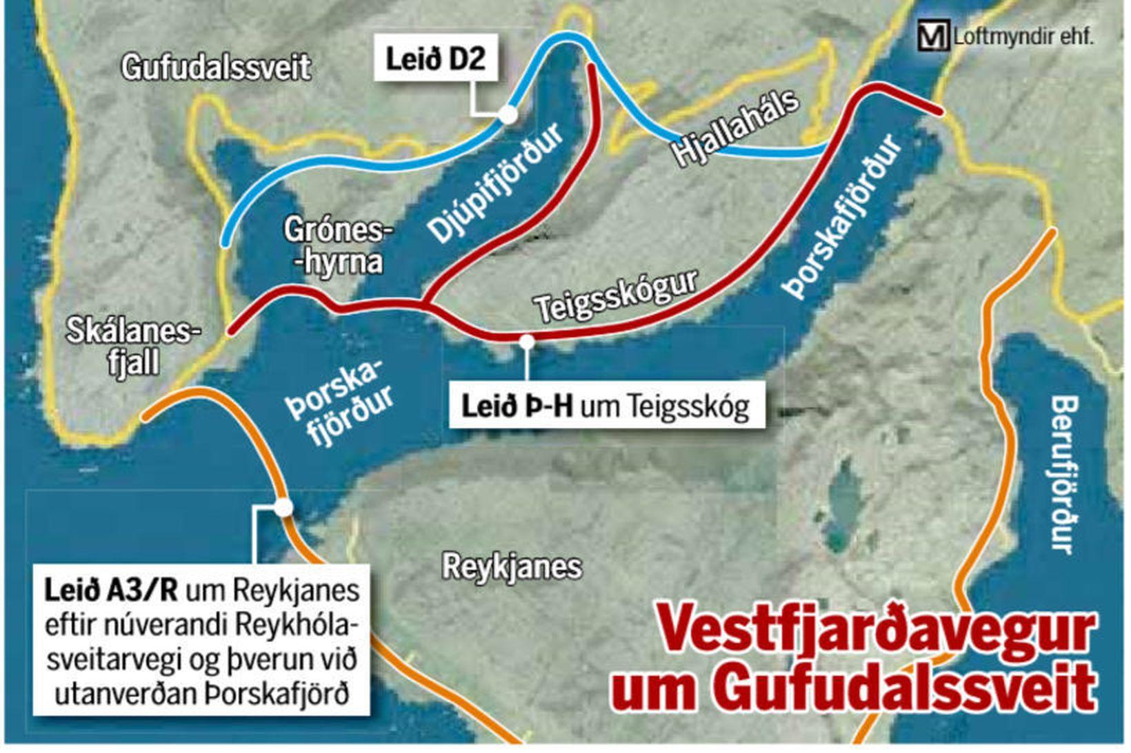 Valkostirnir við vegabætur á Vestfjarðavegi.