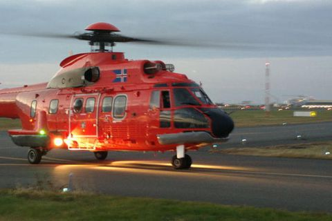 The National Coastguard helicopter is on its way to Reynisfjara beach